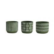 Kit mini-cachepot  étnico 3 peças em cimento oliva