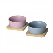 Petisqueiras com bandeja de bambu - pink and blue
