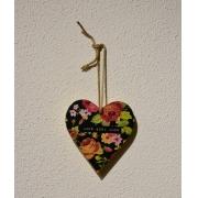 Placa decorativa Heart florido Amor gera amor