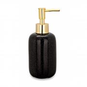 Porta-sabonete liquido preto e dourado em ceramica