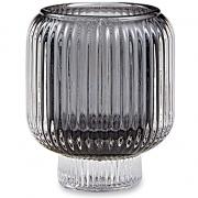 Porta-velas Elegance Canelado em vidro fume