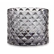 Porta-velas Elegance Diamond em vidro fume