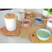 Potiche de ceramica c/tampa de bambu c/pegador de corda lines branco G