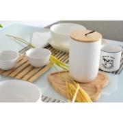 Potiche de ceramica c/tampa de bambu c/pegador de corda lines branco P