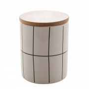 Potiche de ceramica c/tampa de bambu Quadriculado branco G