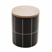 Potiche de ceramica c/tampa de bambu Quadriculado preto P