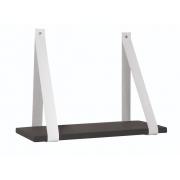 Prateleira Alças de cimento e couro  preto e branco