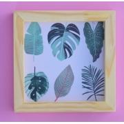 Quadro decorativo Botanica moldura pinus 20x20