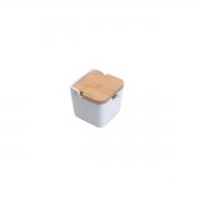 Saleiro de mesa de cerâmica c/ tampa de madeira e colher