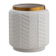 Vaso Chevron em cerâmica branca com borda dourada