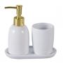 Organizadores de banheiro 3 peças Londres Branco e Dourado