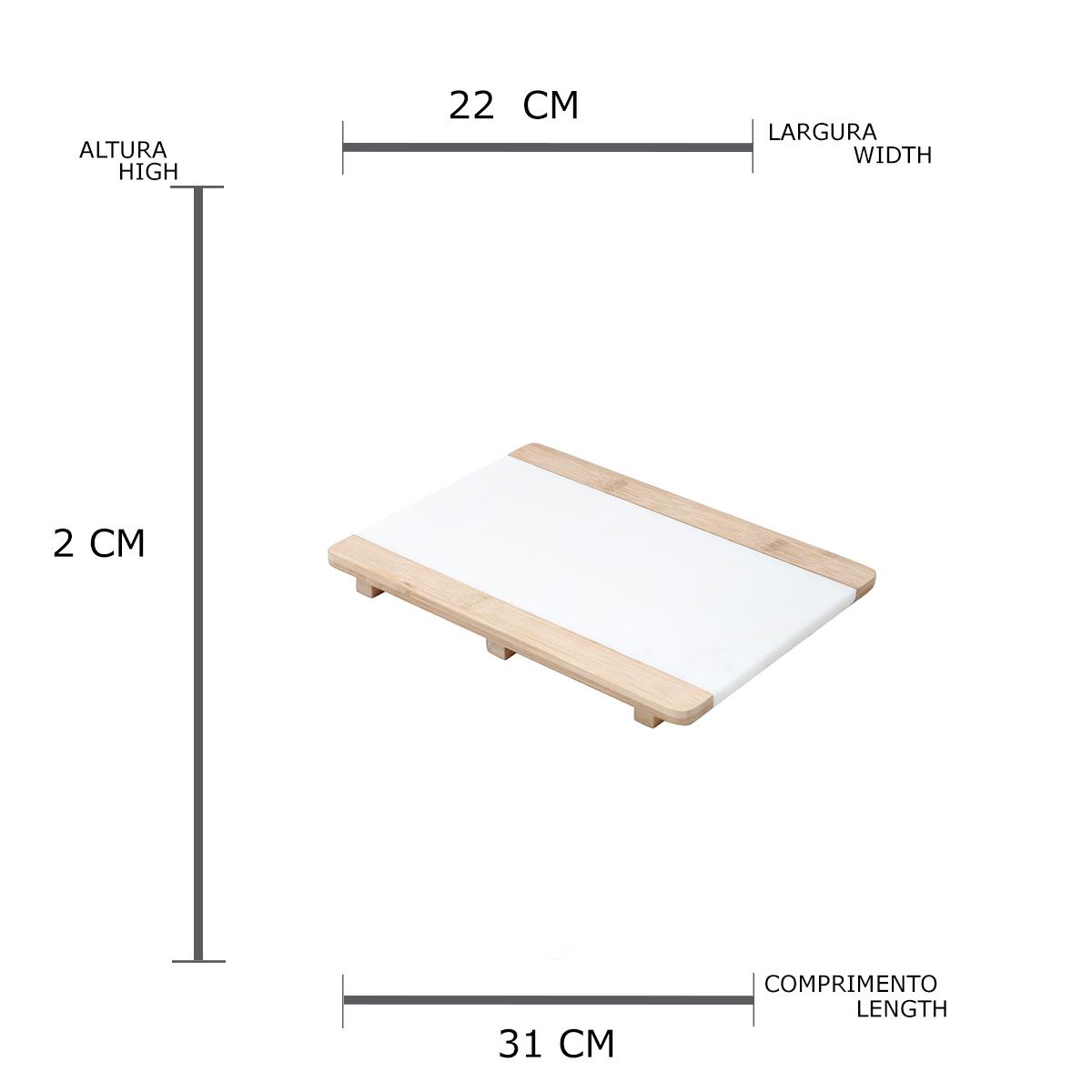 Bandeja natural de mármore branco com base de bambu