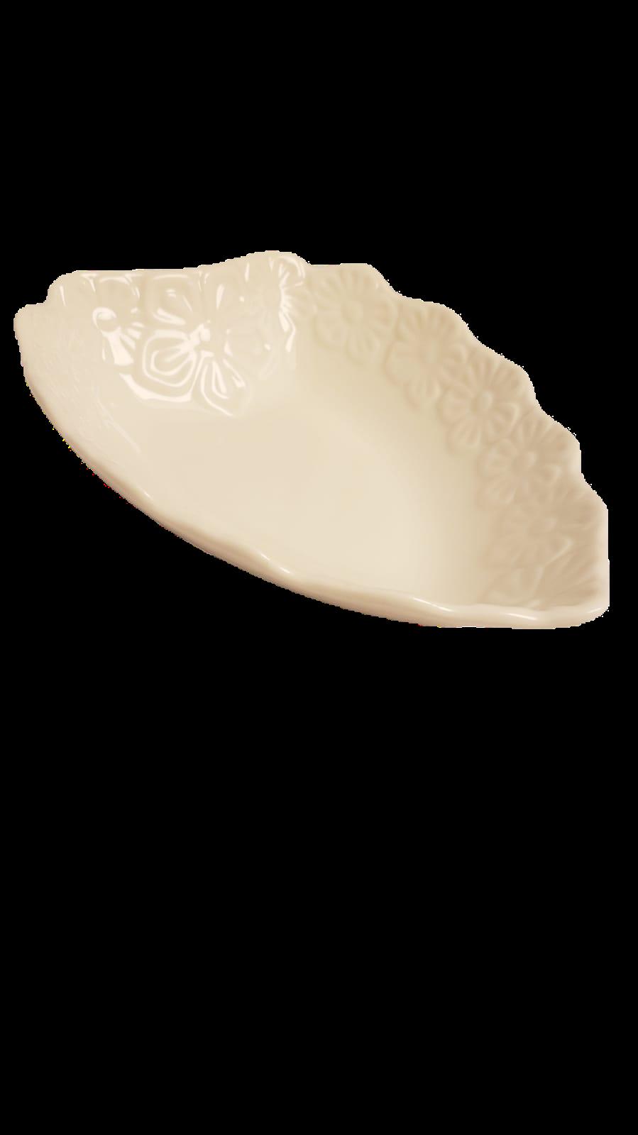 Bowl heart flowers cerâmica branco