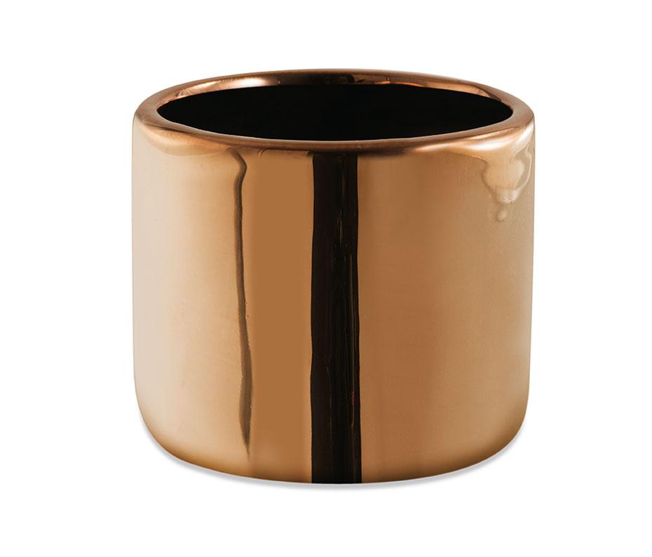 Cachepot cobre redondo em cerâmica