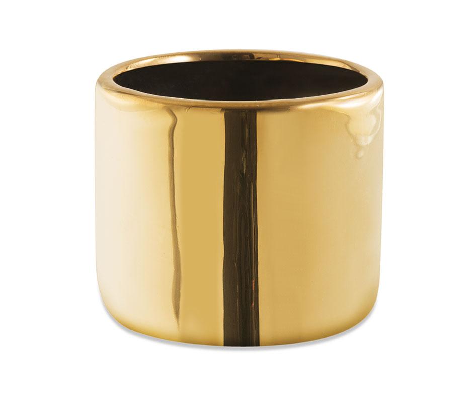 Cachepot dourado redondo em cerâmica