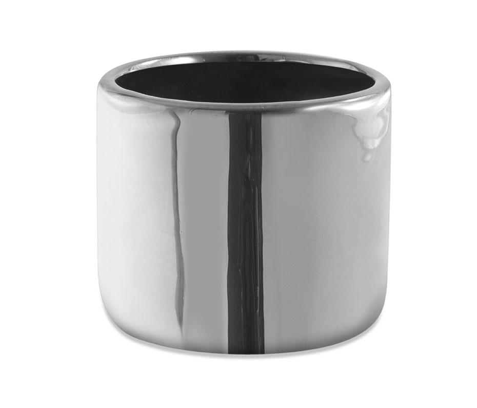 Cachepot prata redondo em cerâmica