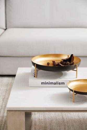 Centro de mesa Elegance II em metal preto e dourado