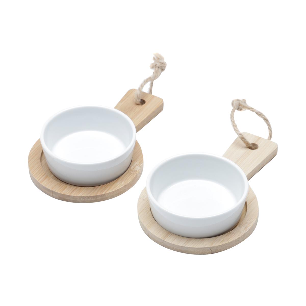 CJ 2 Bandejas de Bambu c/ 2 Molheiras em cerâmica