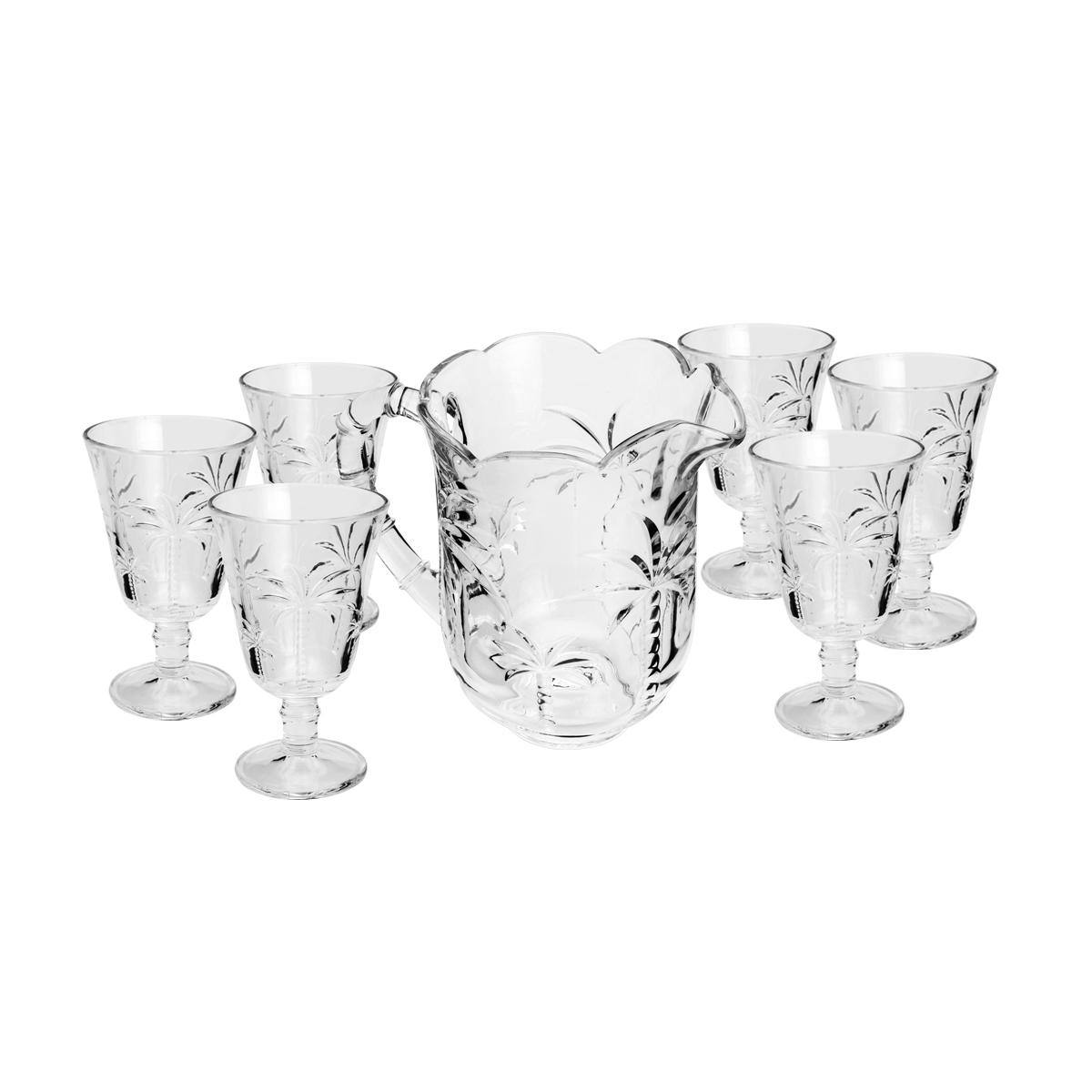 Conjunto Jarra c/6 Taças de Cristal Palm Tropical 1,3l/240ml