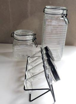 Conjunto 4 Potes para tempero spice em vidro Borossilicato com tampa e suporte em metal preto
