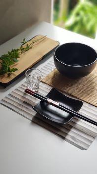Conjunto 6 Peças Para Sushi de bambu e cerâmica Quioto