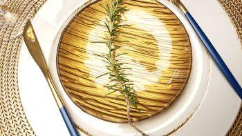 Conjunto de garfo e faca em Inox - Azul e Dourado