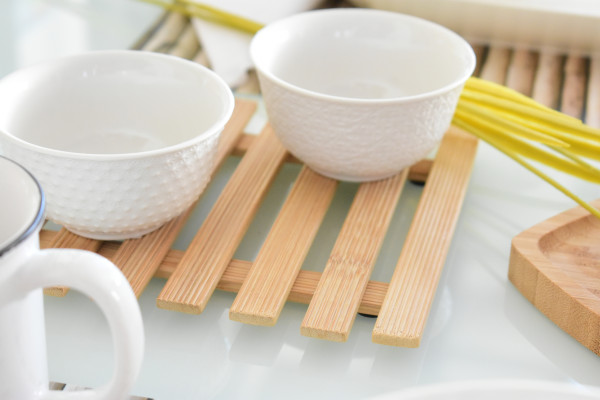 Descanso p/panela de bambu 17x17cm
