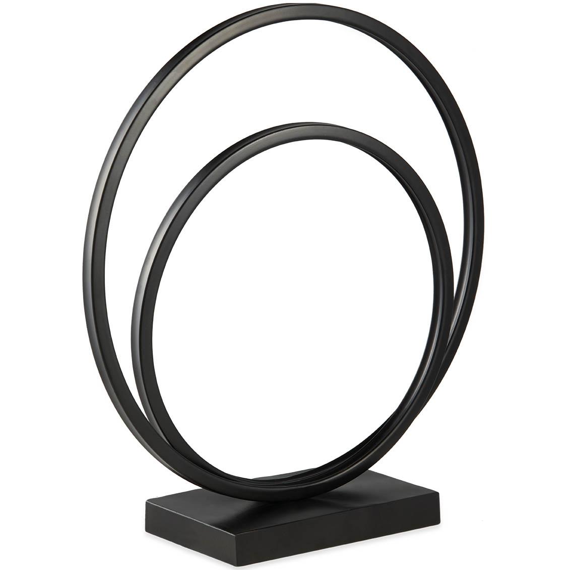 Escultura  double circle em metal preto