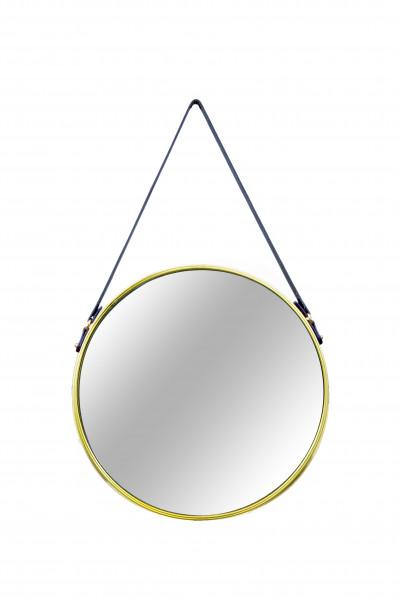Espelho Louise redondo dourado em metal com alça de couro