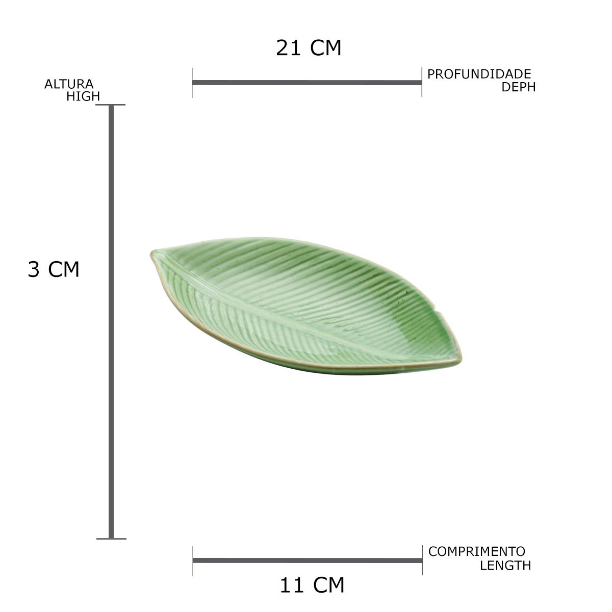 Folha decorativa banana de cerâmica P