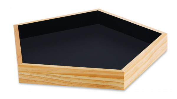 Kit bandeja Natural preta em madeira 3 pçs