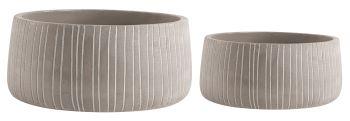 Kit cachepot listras 2 peças em cimento cinza