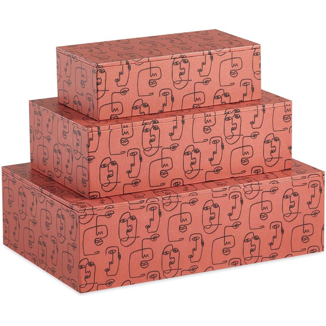 Kit Caixa Organizadora Faces Coral - 3pçs