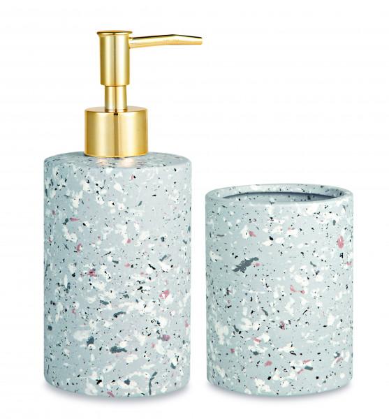 Kit organizador para banheiro Terrazzo cinza em cerâmica - 2 Pçs