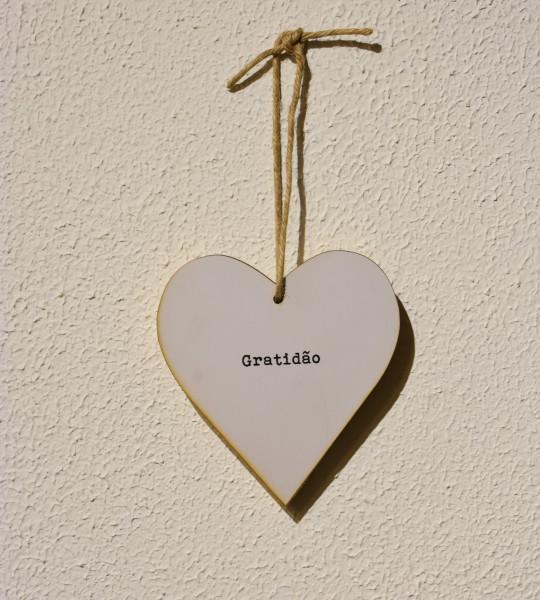 Placa decorativa Heart branco Gratidão