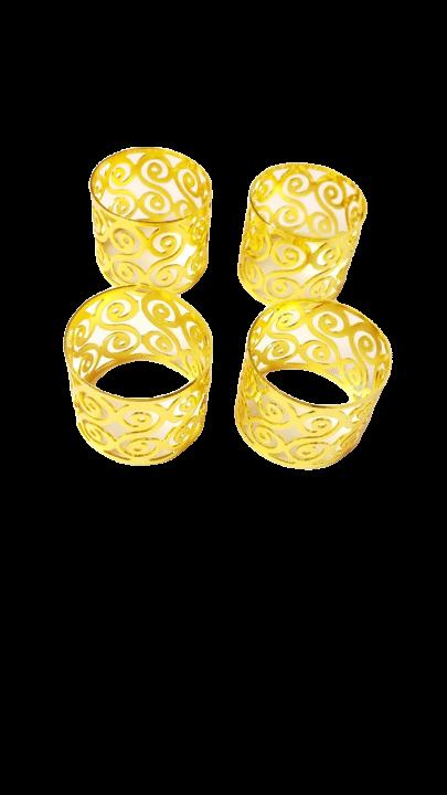 Porta Guardanapo de mesa com 4 peças - Dourado plus