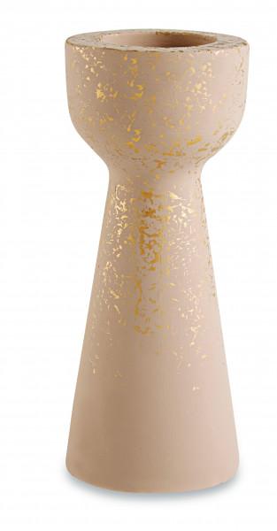 Porta-velas Dândi em cimento nude e dourado