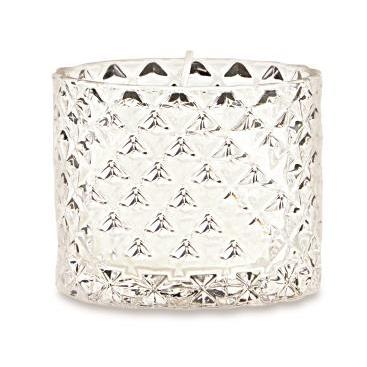 Porta-velas Elegance Diamond em vidro incolor