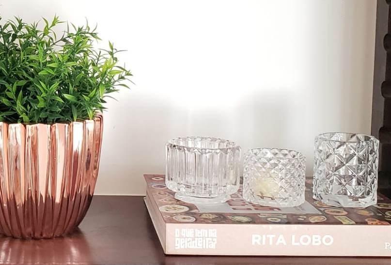 Porta-velas Elegance  em vidro incolor