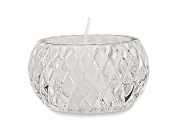 Porta-velas Elegance Losang em vidro incolor