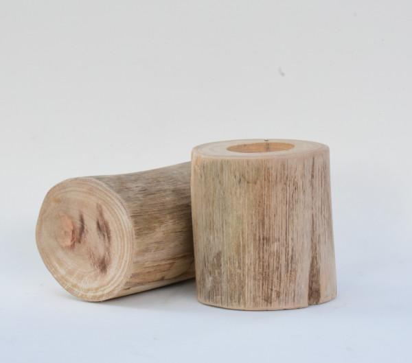 Porta velas - Ybirá natural em madeira rustica