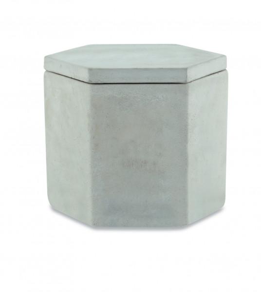Pote decorativo com tampa em cimento cinza