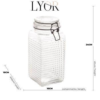 Pote hermético Borossilicato de vidro com detalhes de metal 10 x 23,5cm
