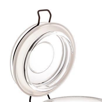 Pote hermético Borossilicato de vidro com detalhes de metal preto 10 x 12,5cm