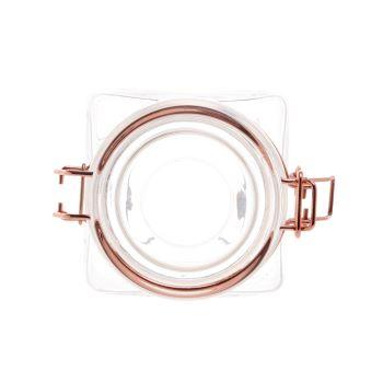 Pote hermético Borossilicato de vidro com detalhes de metal rose 10 x 19cm
