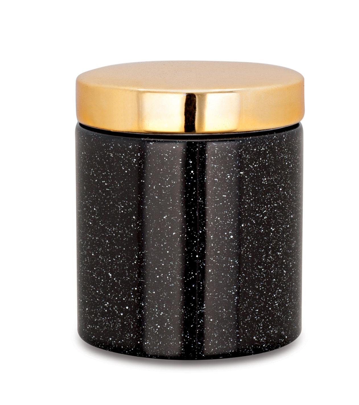 Pote preto e dourado em ceramica