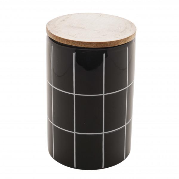 Potiche de ceramica c/tampa de bambu Quadriculado preto G