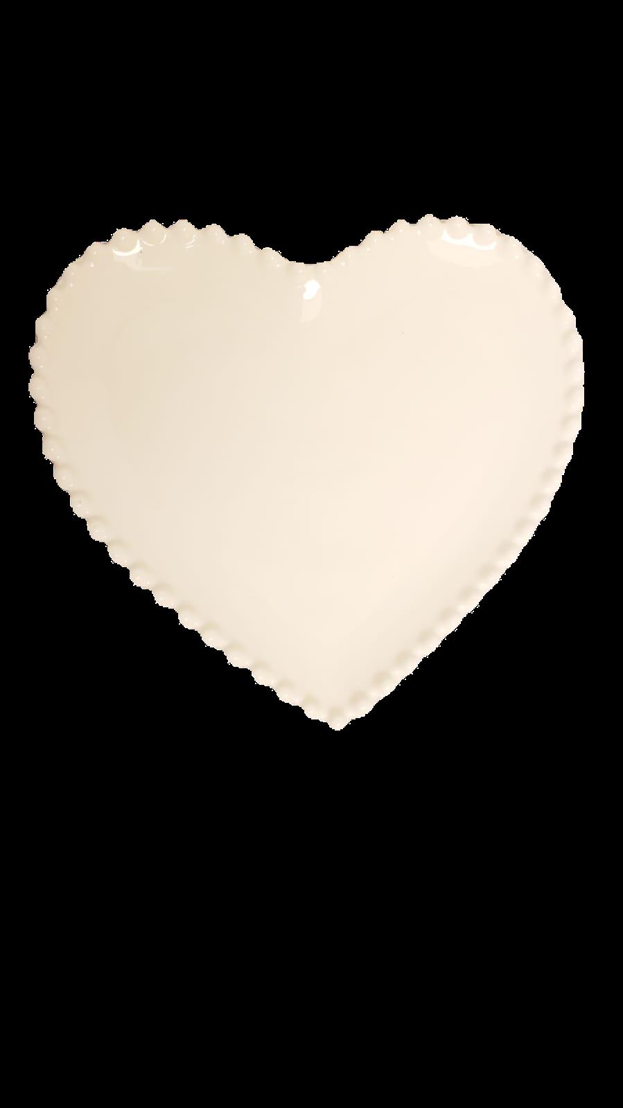 Prato Heart de cerâmica branco