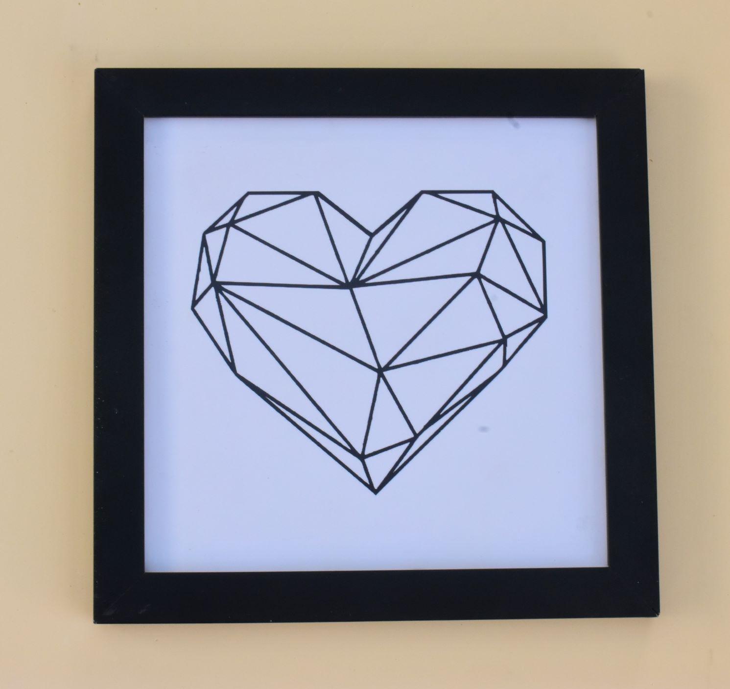 Quadro decorativo Heart Branco moldura preta 23 x 23