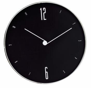 Relógio de Parede Preto e Prata